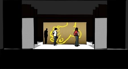 Das Bühnenbild von Ödipedia, bestehend aus bemalten, beklebten und naturbelassenen Lamellenvorhängen.