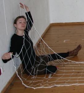 Regieassistentin Maike im Netz. Foto vom 29.03.2009.