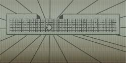 Der Lamellenvorhang an der Bühnenrückwand