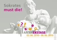 Flyer fürs Festival ANTIKEKSTASE: Sokrates must die! (Anklicken zum Vergrößern)